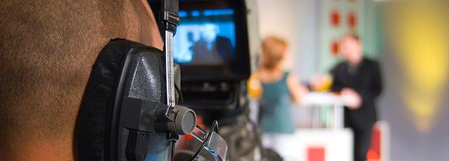 Television cameraman closeup