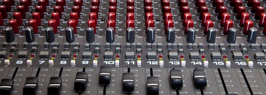 Closeup of a soundboard