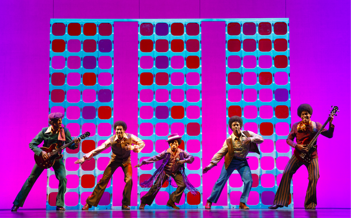 Reed L Shannon as Michael Jackson (center) with the Jackson 5. MOTOWN THE MUSICAL First National Tour. By Joan Marcus.png