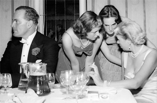 1950s 3 debs and guy at table bw.jpg