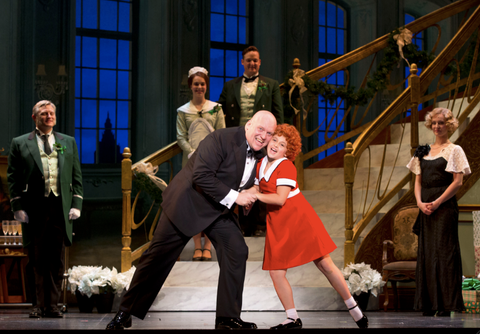 Gilgamesh Taggett as Oliver Warbucks and Issie Swickle as Annie sing I Don't Need Anything But You.png