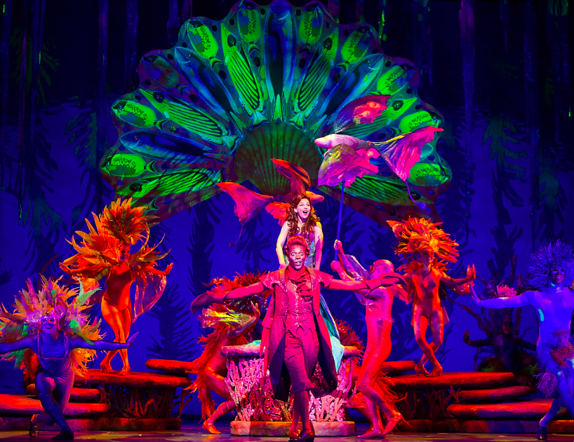 Alan Mingo, Jr. as Sebastian and Jessica Grove as Ariel and the cast of The Little Mermaid.  Photo by Bruce Bennett, courtesy of Theatre Under The Stars.png