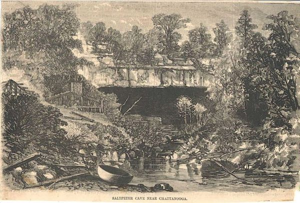 Sketch of Nickajack Cave prior to flooding by Nickajack Resevoir.