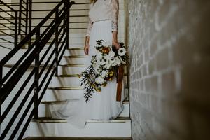 Industrial Wedding Venue Brass Accent Design