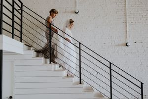 Industrial Minimalist Wedding Venue Steel Stairway