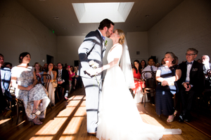 SkyLight Room Wedding Kiss