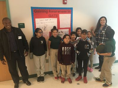Sarah King Elementary School-  in San Antonio- students in front of awareness sign- February 2019.JPG