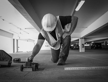 Ground Penetrating Radar Systems Specialist Performing Concrete Scanning