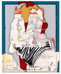 Its only barrioPOP (but I like it) 2020, multimedia painting with transfers on panel, 14x11 in.