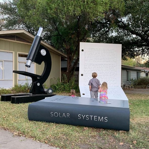 """Children in our East Austin Texas community enjoy making multiple visits and leaving notes for """"Bobby the giant boy"""""""