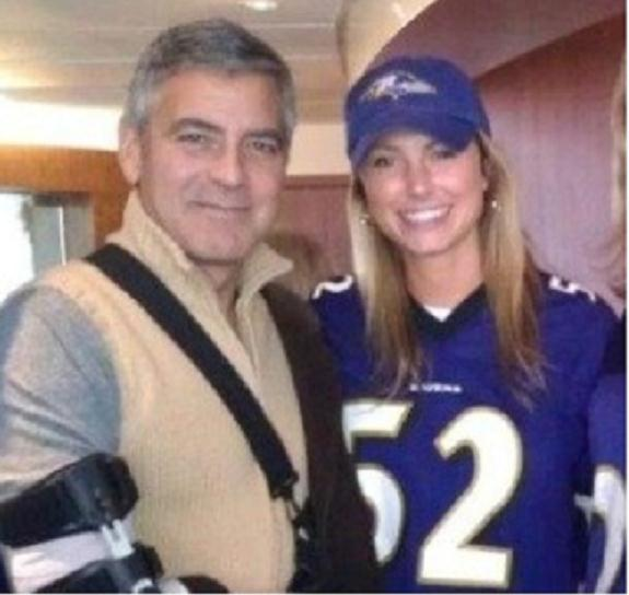 George Clooney and Lindsey Kiebler in Ravens jersey