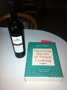 Mastering the Art of French Cooking and a bottle of wine