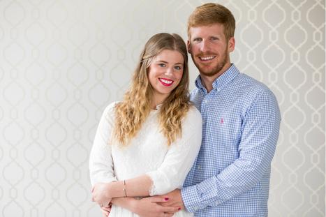 Newlywed Photo Shoot with Modern Backdrop