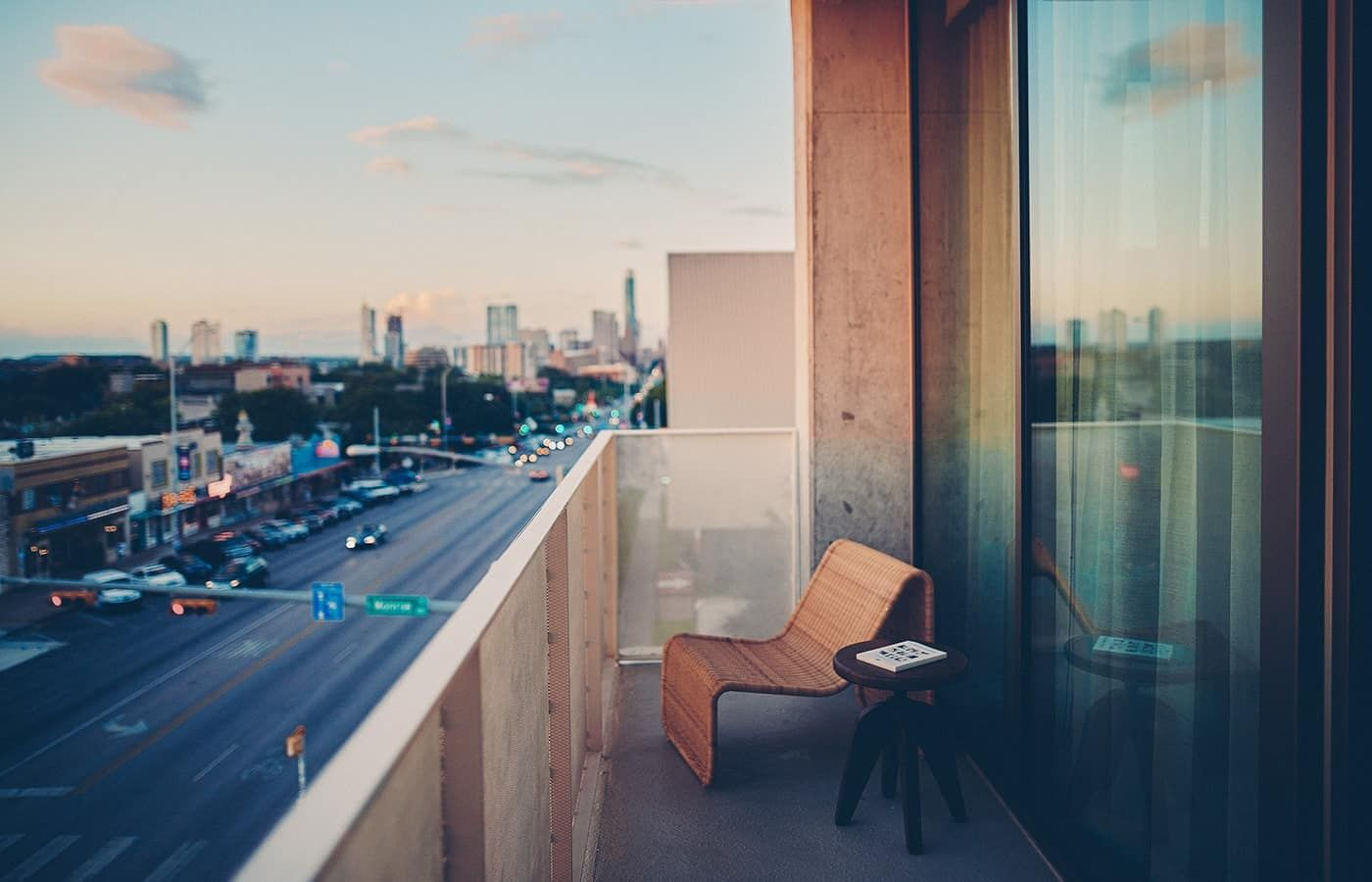 View of Austin Skyline from South Congress Hotel Balcony