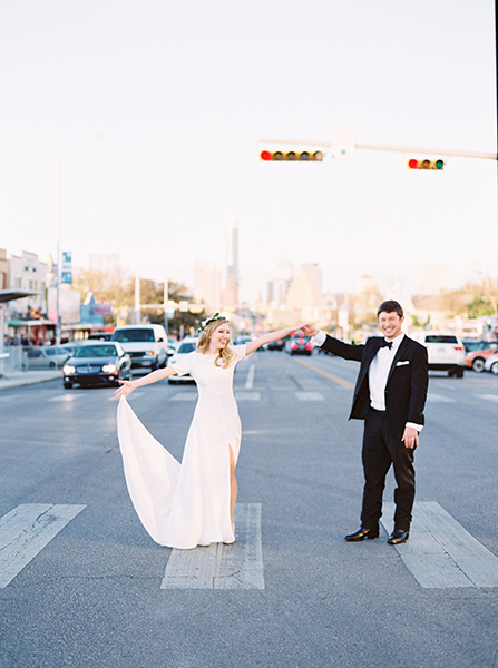 Newly weds outside South Congress Hotel