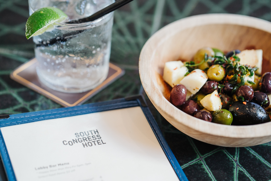 Cocktail and olives at South Congress Hotel