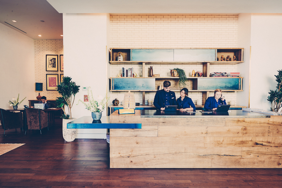 Reception desk at South Congress Hotel
