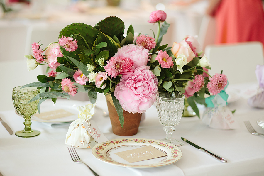 Floral arrangement at a social event