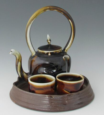 karen-hembree-tenmoku-altered-teapot-bowls-with-tray-soda-fire.jpg