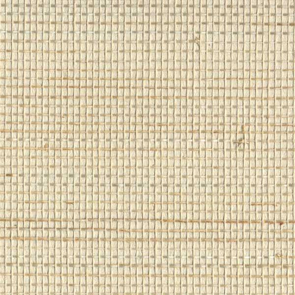 Tan grasscloth textured wallpaper