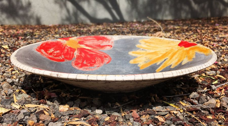 Red Poppy, Yellow Cosmos Serving Bowl
