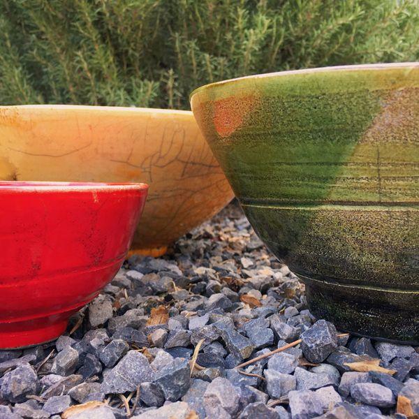 Yellow, Green and Red Raku Bowls