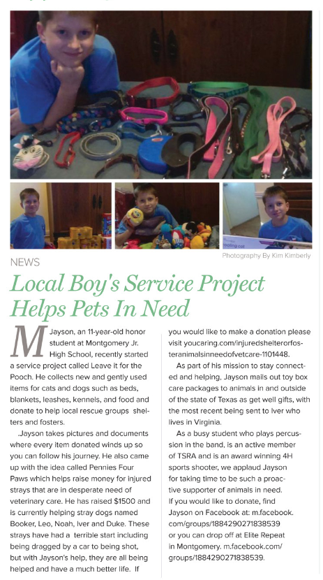 June 2018 - Local Boy's Service Project Helps Pets in Need, Jayson Kimberly.PNG