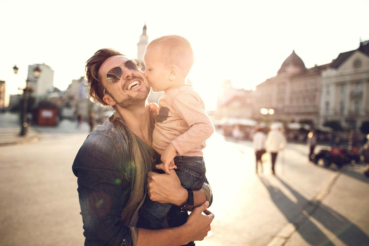 dad and child smiling
