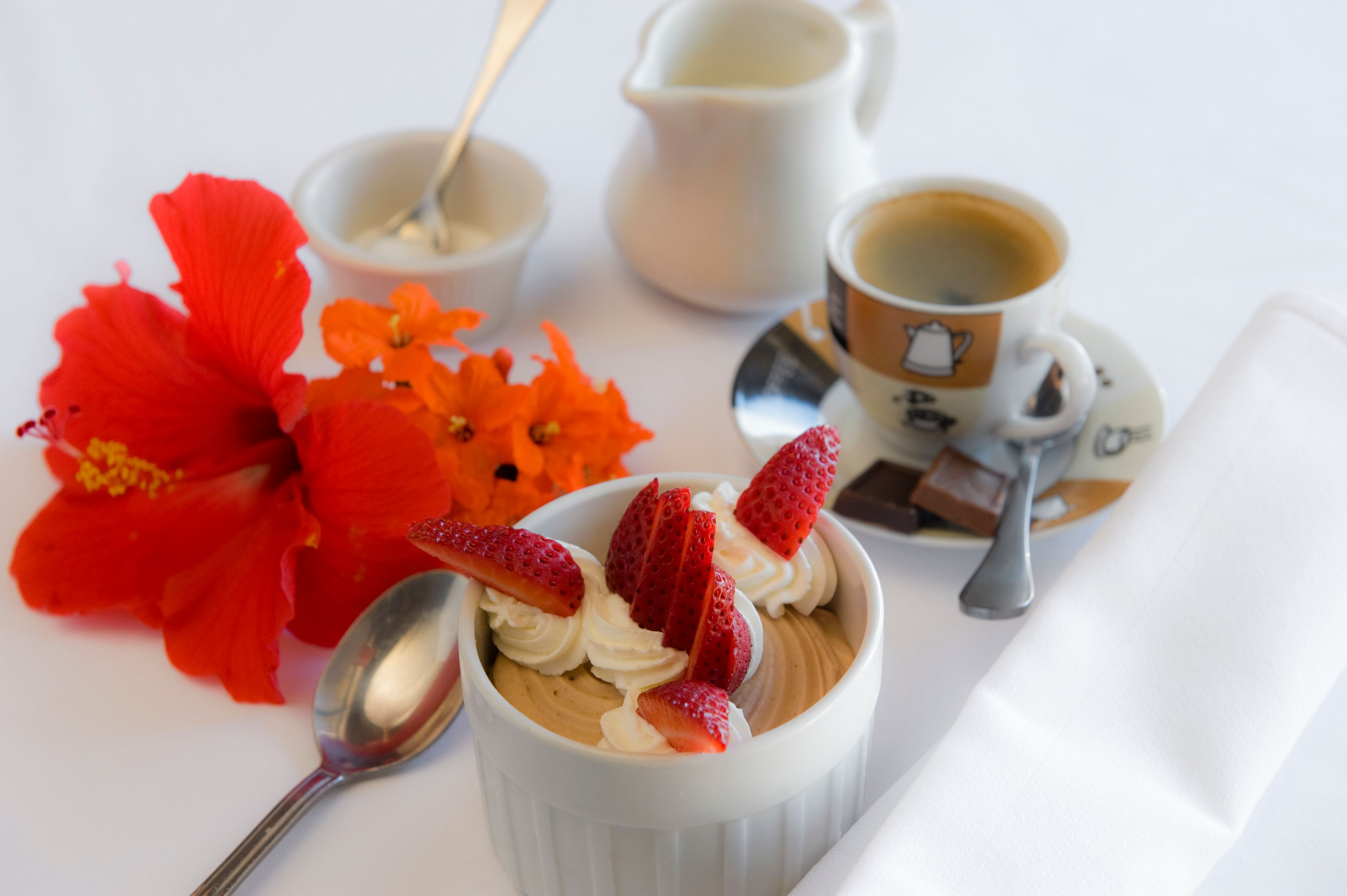 Table top commercial photography: Strawberries and espresso. Maui