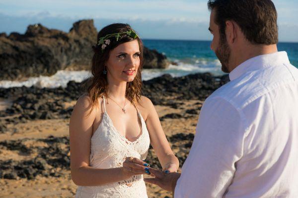 Makena Cove elopement ceremony