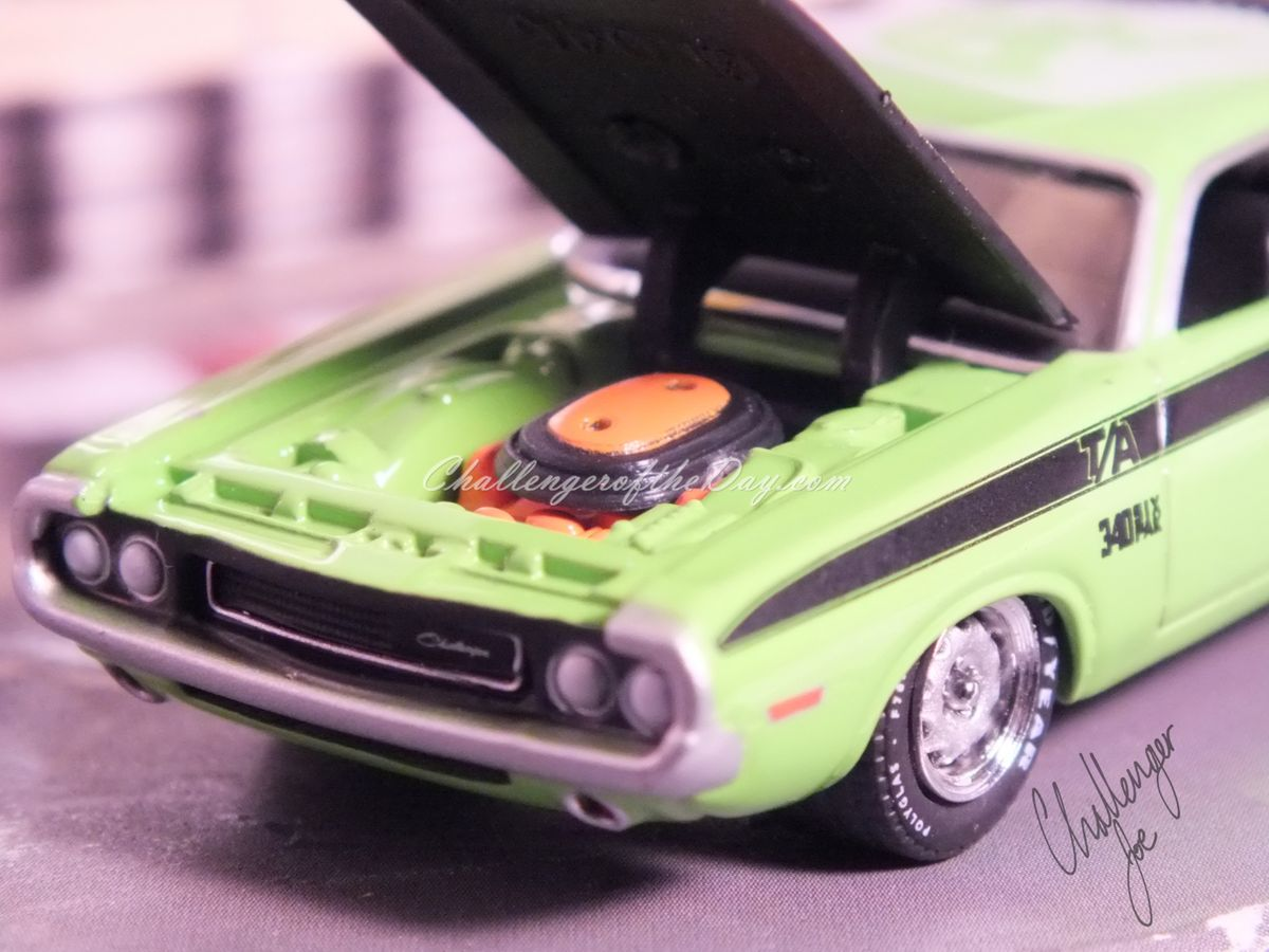 Johnny Lightning Green 340 Six Pack - Front View with Hood Up
