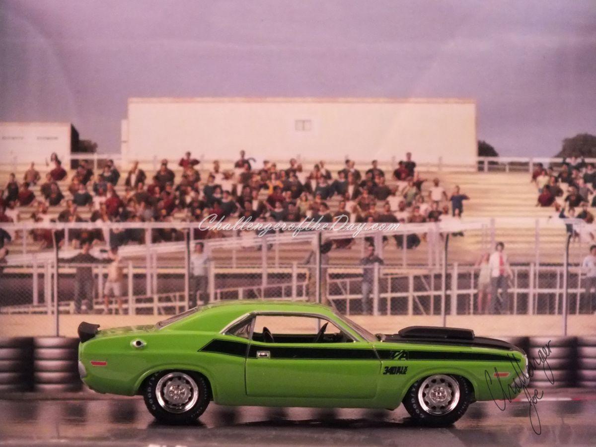 Johnny Lightning Green 340 Six Pack - Passenger Side View
