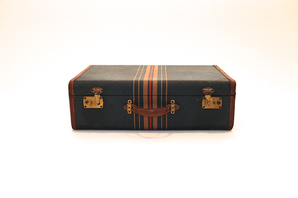 Dark Teal Striped Suitcase