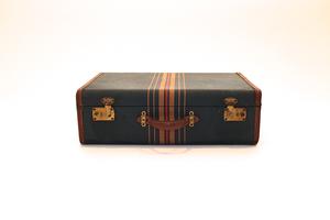 Dark Teal Striped Suitcase
