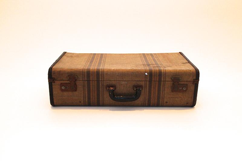 Tan Striped Suitcase