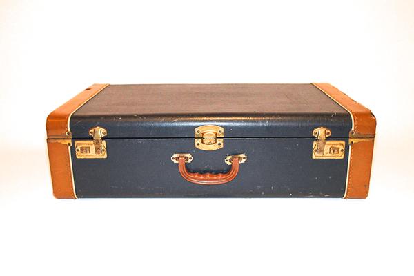 Blue & Leather Suitcase