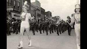 Marching Band 50s or so in front of Princeton Drug (1).jpg