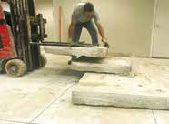 Removal of existing slabs of concrete