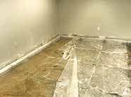 Excavation of dirt below the slabs