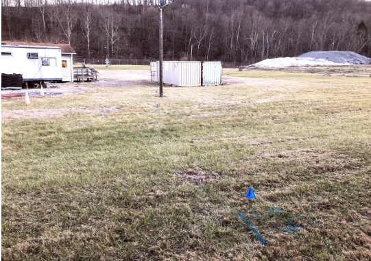 Water line painted and flagged with approximate depth indicated.
