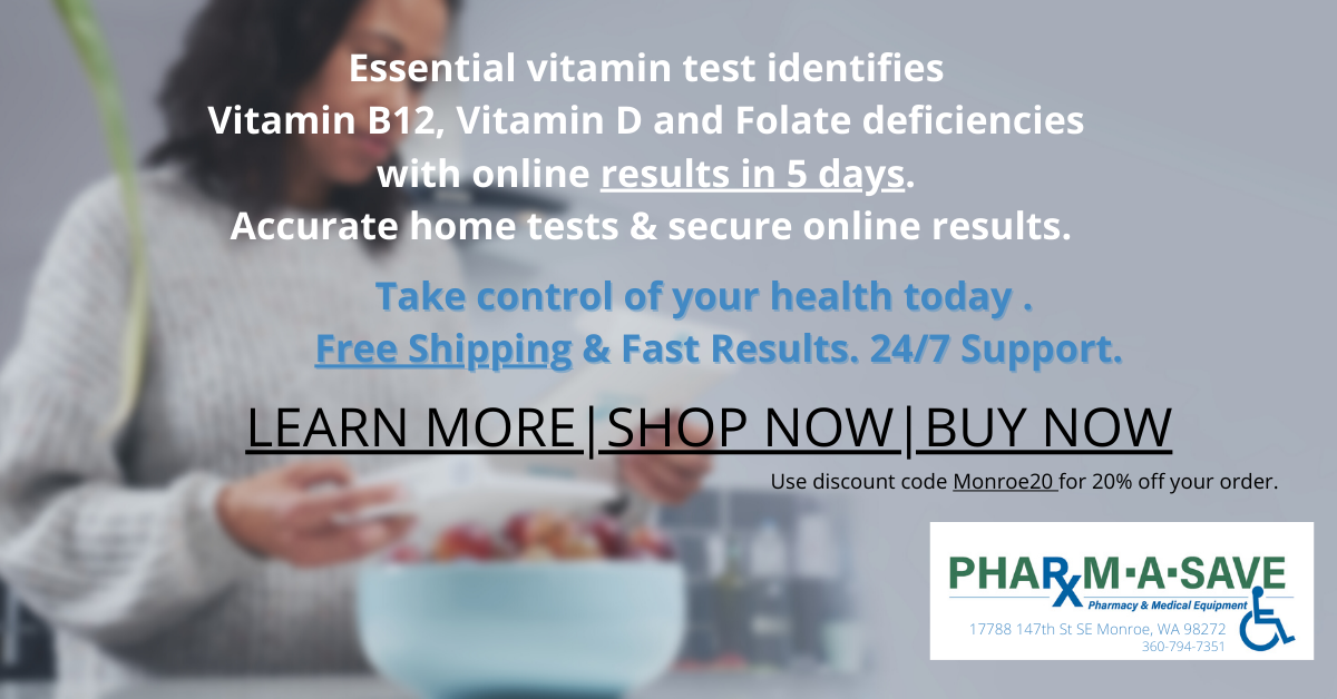 Essential vitamin test identifies vitamin B12, vitamin D and folate deficiencies with online results in 5 days. No need to visit a doctor. Accurate home tests & secure online results.png