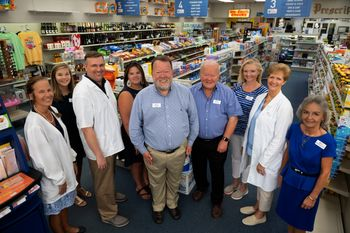 Bill & Tom Thorne with their pharmacists Jeannette Davenport, Jason Lewis, and Wendy Harrell; and pharmacist technicians Sara Grace West, Samantha Harrell, Melissa Peaden and Dolly Ellrod