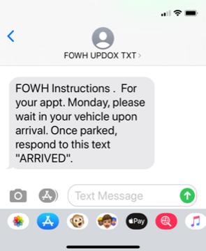 First Text  Monday Appt