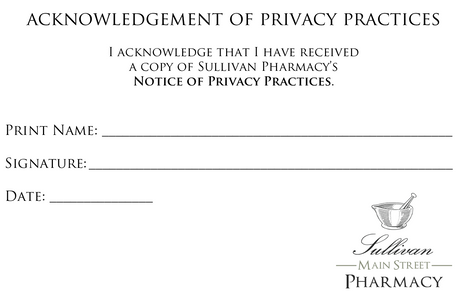 Acknowledgement of Privacy Practices