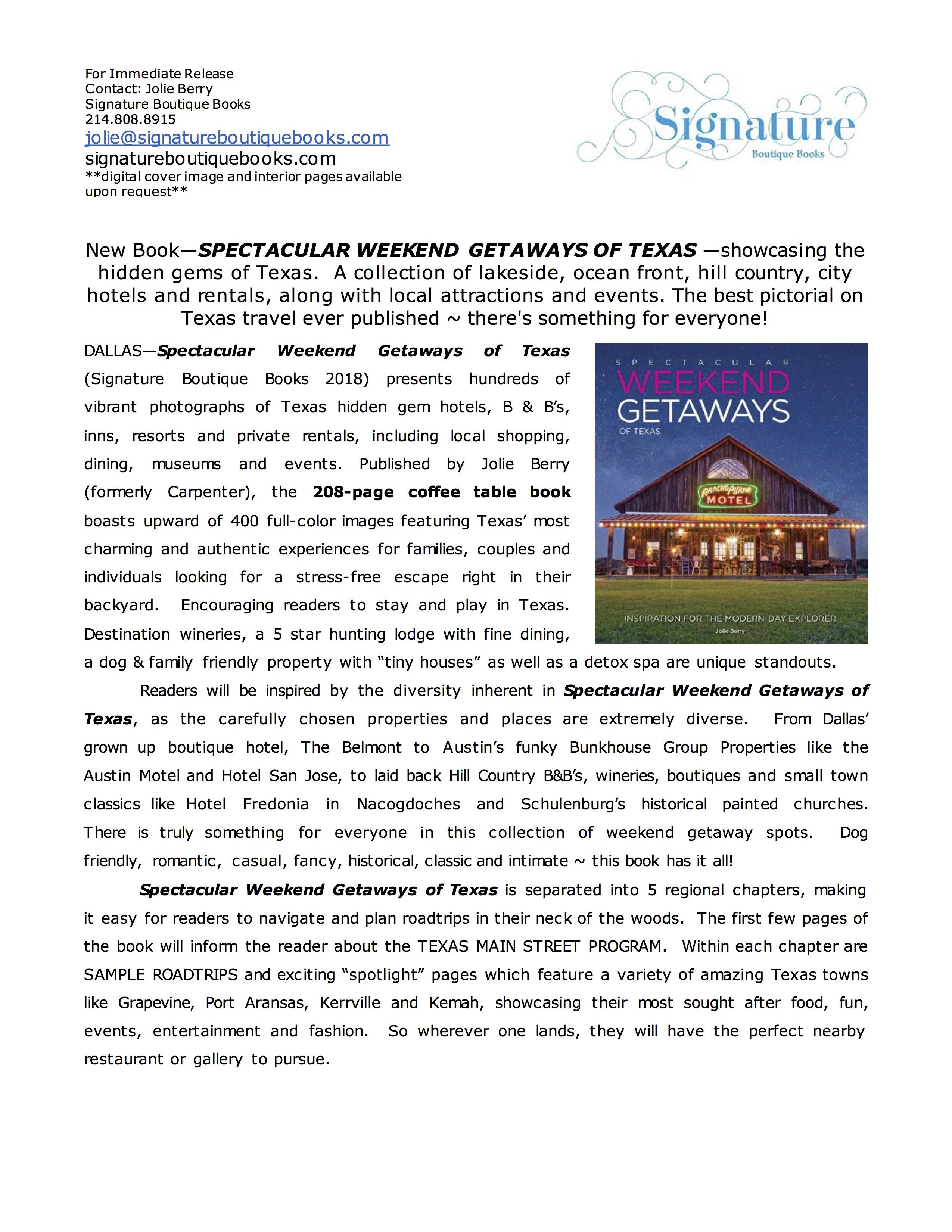 Weekend Getaways Press Release