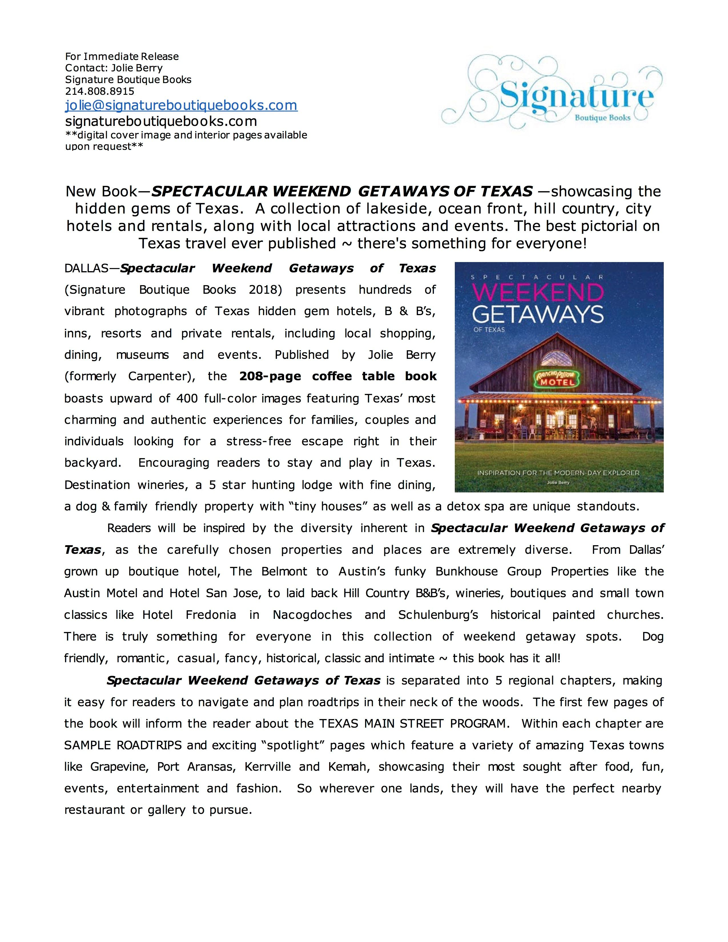 Weekend Getaways Press Release