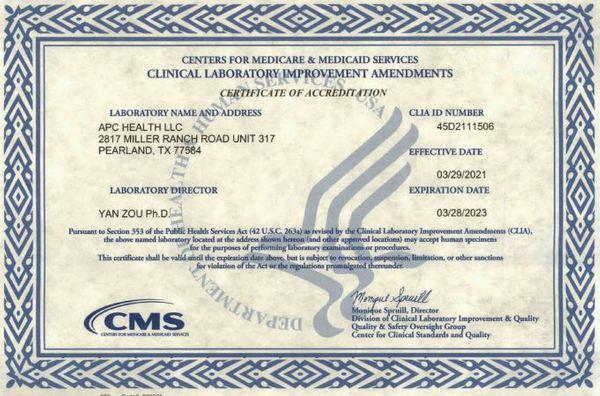 CLIA Certificate.JPG