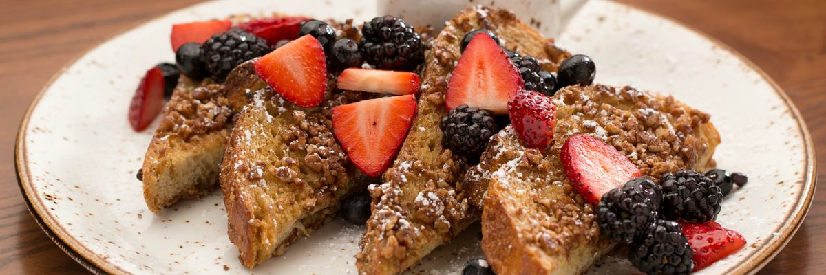 FRENCH TOAST | Pecan Crusted, Berry Compote, Maple Syrup