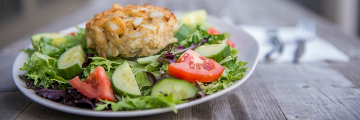 CRAB CAKE over House Salad