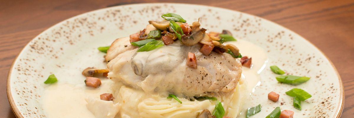 BAKED WILD ROCKFISH | oyster cream, ham, spinach, mushrooms, scallions, garlic mashed potatoes